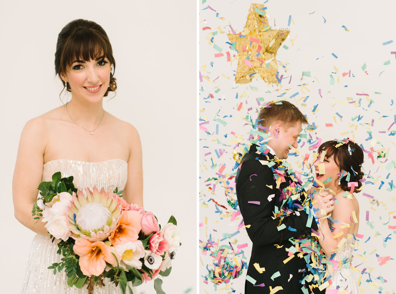 Picture Of black and gold wedding filled with confetti and champagne  9