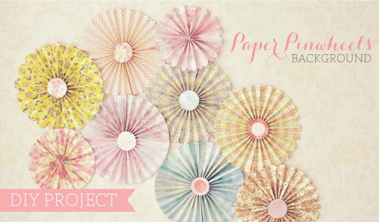 DIY paper pinwheels backdrop (via clickandblossom)