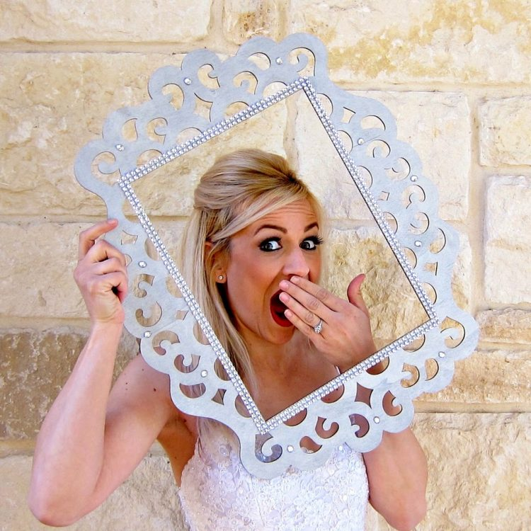 DIY photo booth props and a bling frame (via morenascorner)