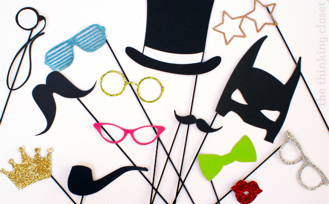 DIY photo booth props (via thinkingcloset)