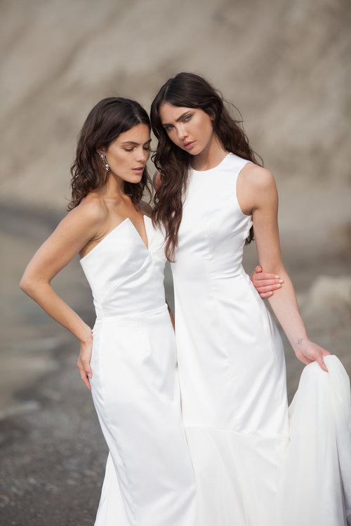 These two wedding gowns are done in laconic modern style and are suitable for a modern bride