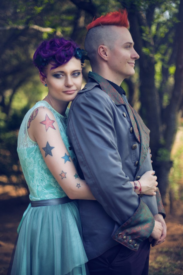 Personalized Wedding With Dinosaurs And Colorful Bride And Groom Hairstyles