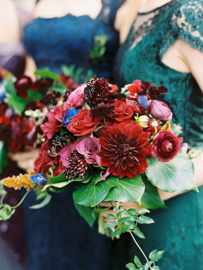 Organic And Moody Fall Wedding In Jewel Tones