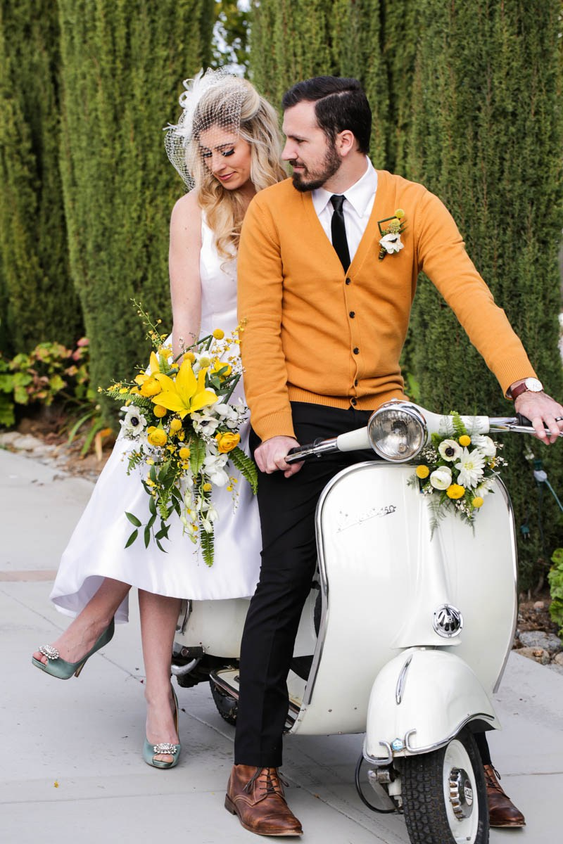 Mid-Century Modern Wedding Shoot With Turquoise And Yellow Details