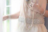 02 20s style fringe spaghetti strap wedding dress