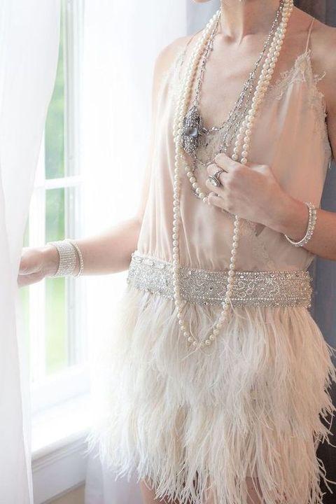 20s style fringe spaghetti strap wedding dress