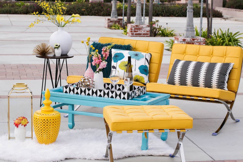 The super bold lounge with geometric decor tied the colors and theme together