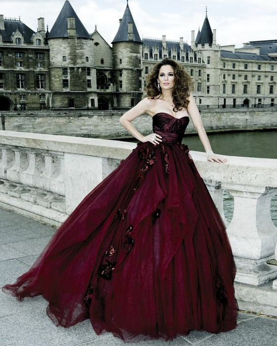 daring burgundy ball gown