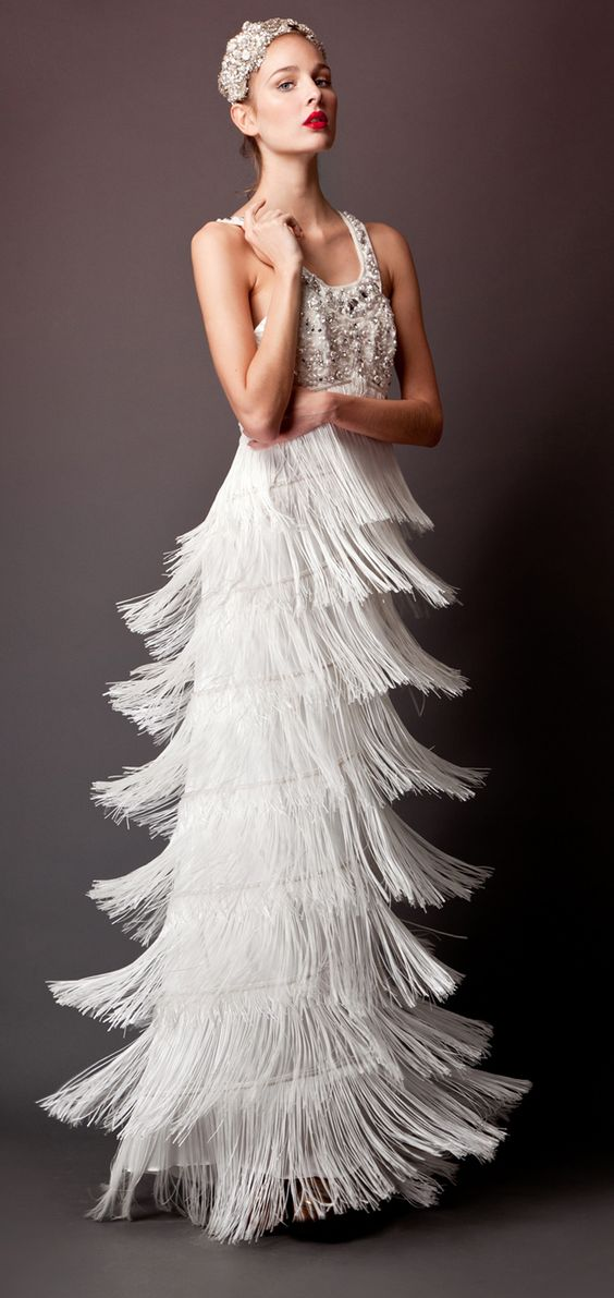 beaded bodice fringe long wedding wedding dress