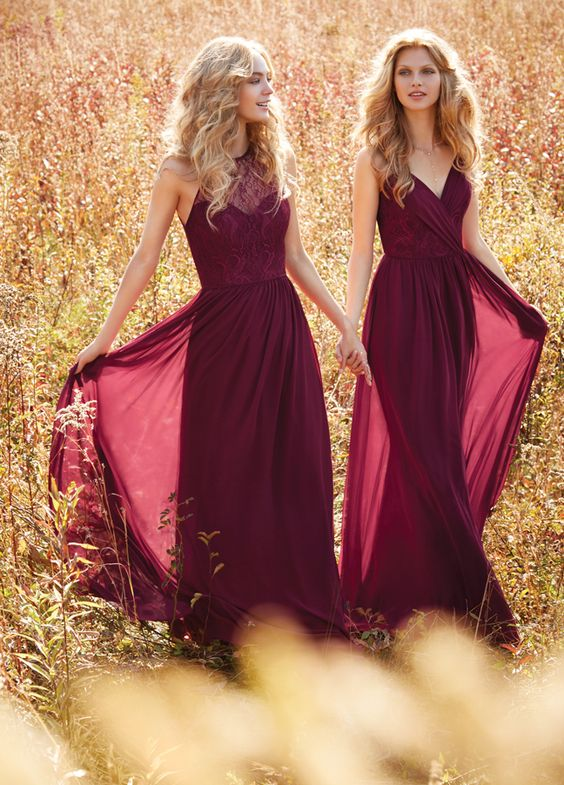 burgundy bridesmaids' dresses