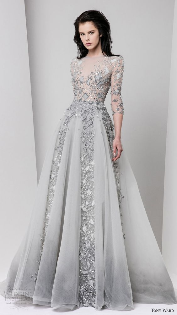 gorgeous metallic grey wedidng dress