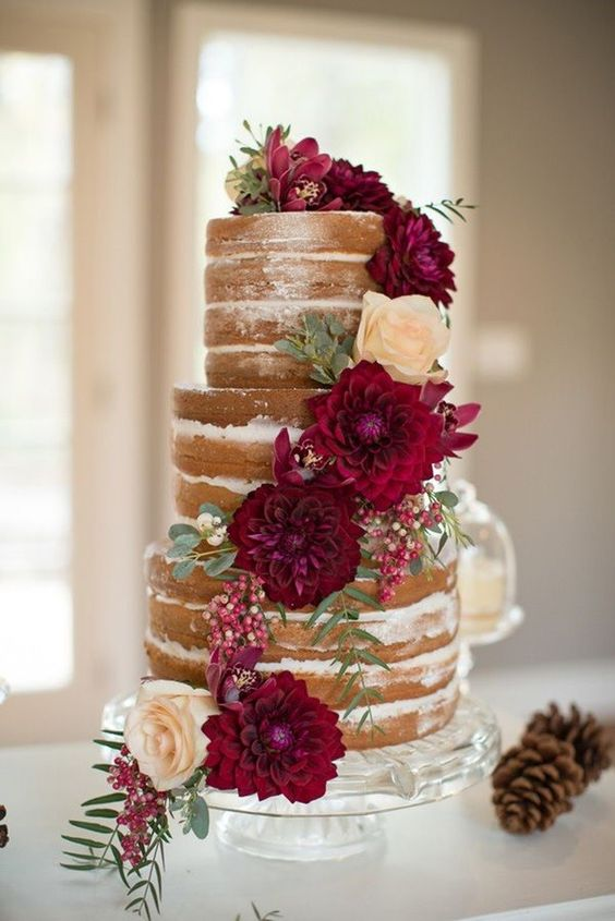 naked fall cake with marsala-colored dahlias