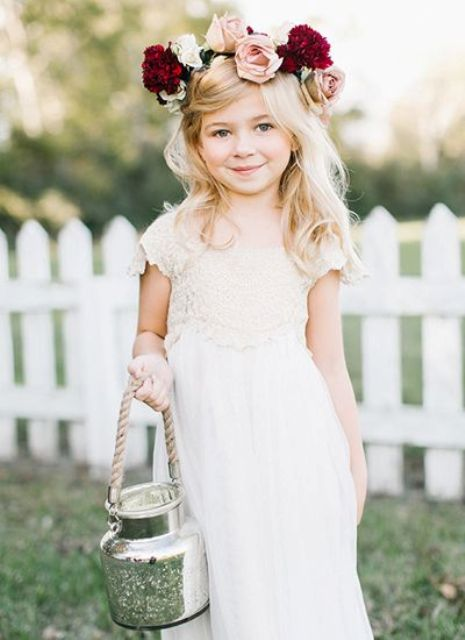 20 fall flower girl outfits that are too cute weddingomania white lace dress with a bold fresh flower crown mightylinksfo