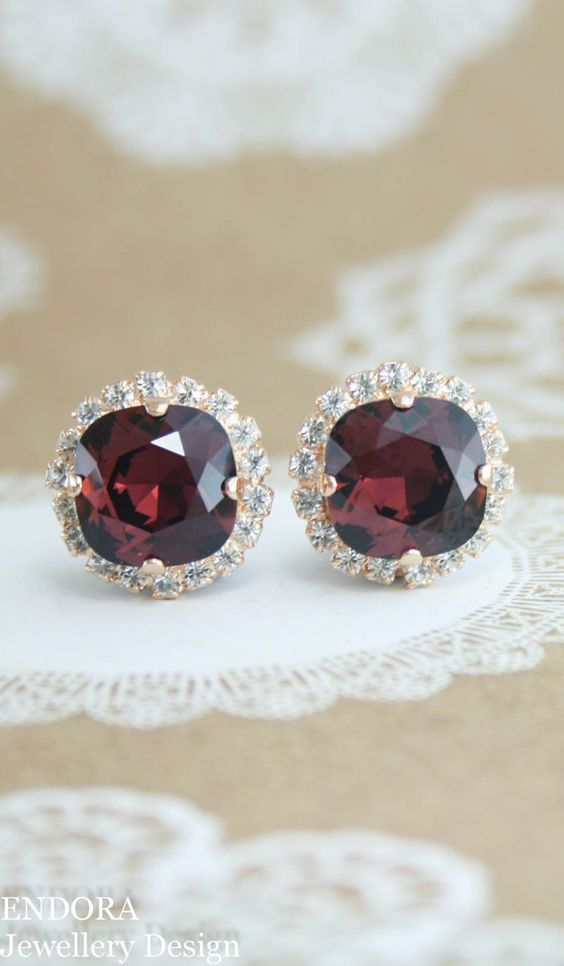 05 burgundy and gold earrings
