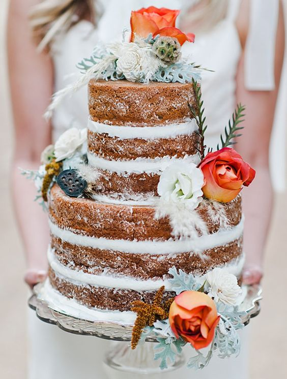27 Naked Fall Wedding Cakes That Will Make Your Mouth -2690