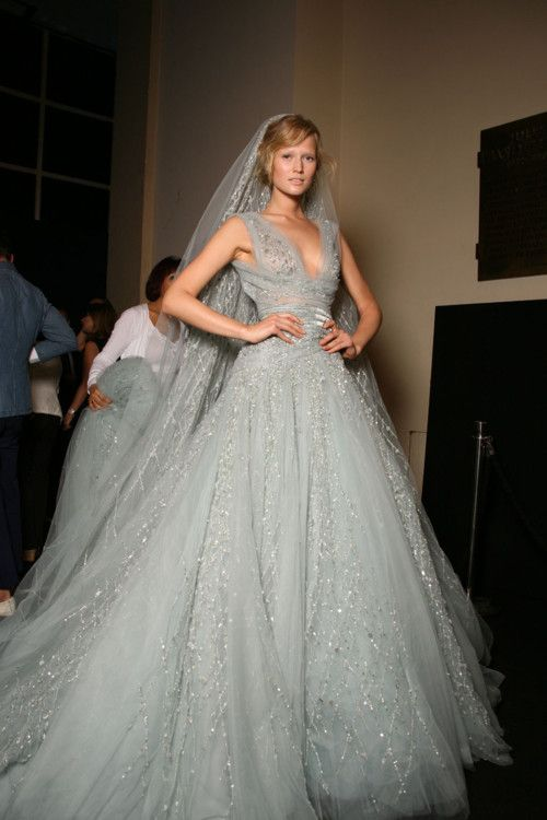 Picture Of silver grey ball wedding dress