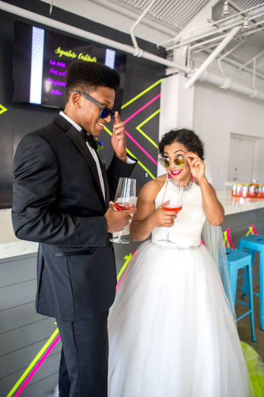 The couple has a great sense of humor and the neon theme showed it perfectly