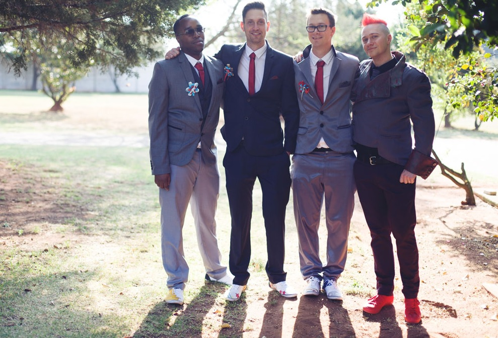 The groomsmen also looked bold