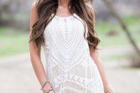 06 boho chic short lace fringe weddign gown
