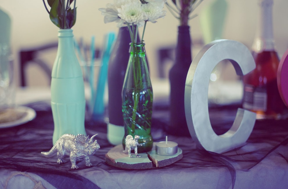 Dinosaurs that the couple loves were incorporated into table decor