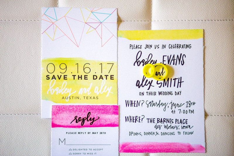 The wedding stationery was bold and neon too, with modern looks