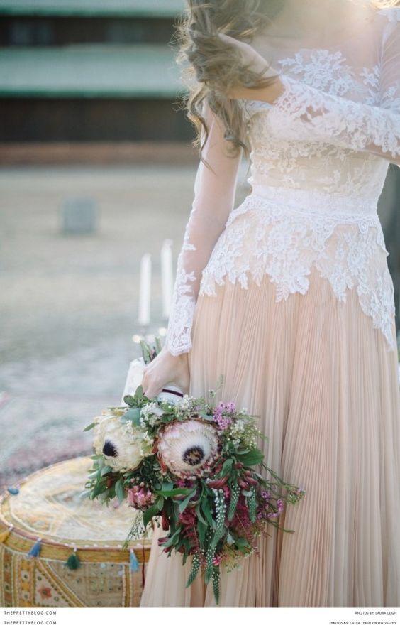 blush and white lace bridal dress