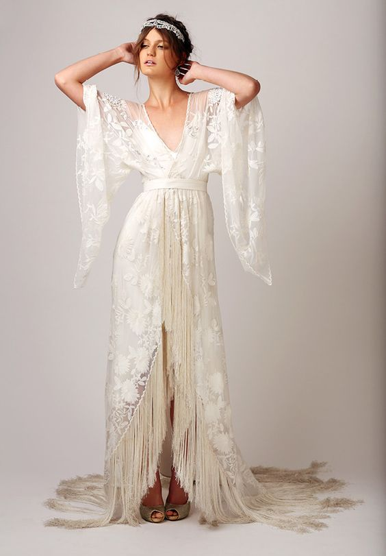 boho gypsy yet elegant and romantic bridal gown with fringe