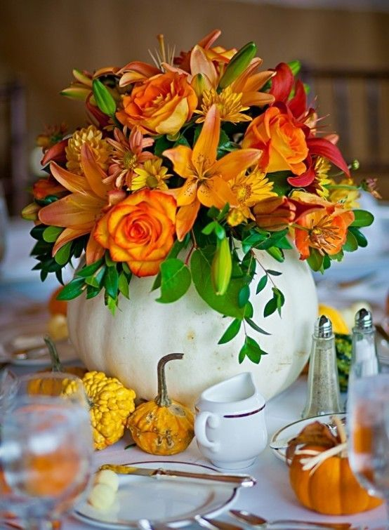 Picture Of White Pumpkin Vase With Flowers For Table Decor
