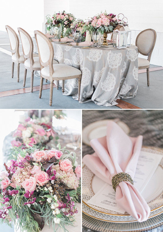 The grey lace tablecloth became the base of the look