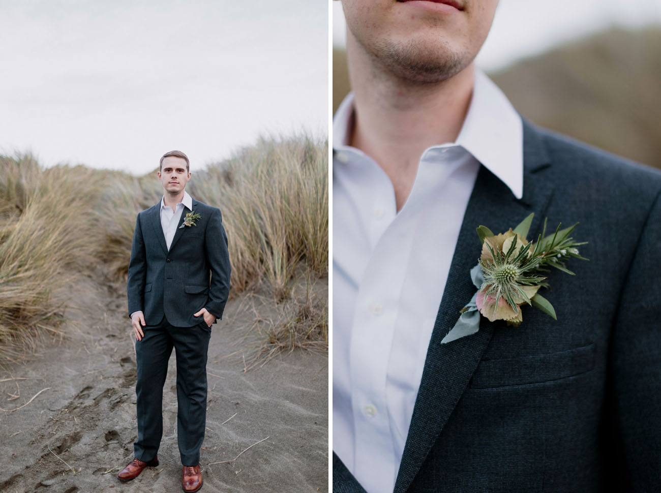 Picture Of The Groom Has A Relaxed Look With Dark Grey Suit No Tie And Simple Boutonniere