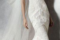 08 halter neckline lace fringe wedding gown
