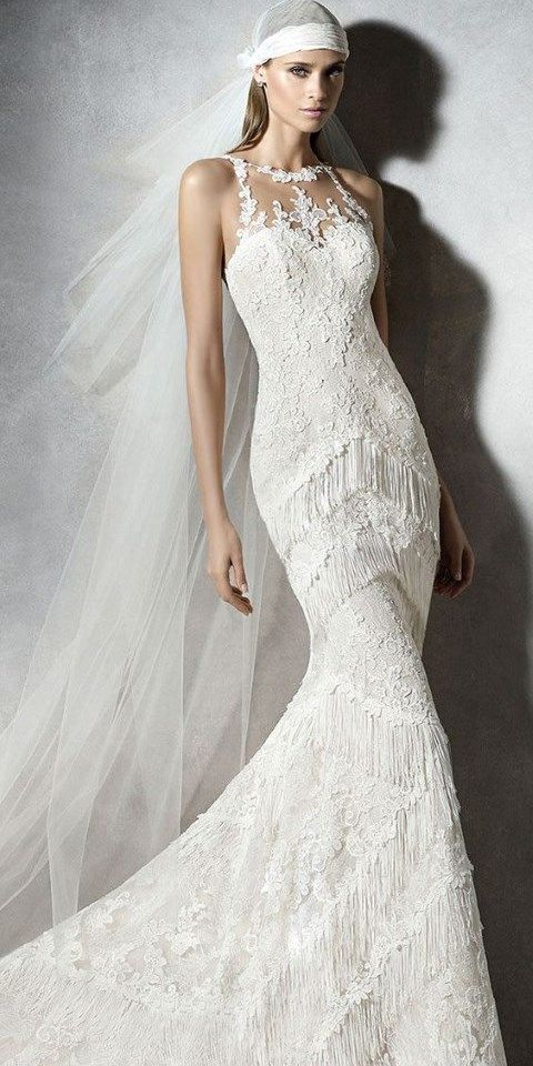 halter neckline lace fringe wedding gown