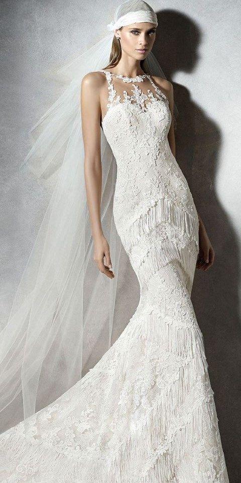 Bridal Gowns With Halter Neck : Fringe wedding dresses that catch an eye crazyforus