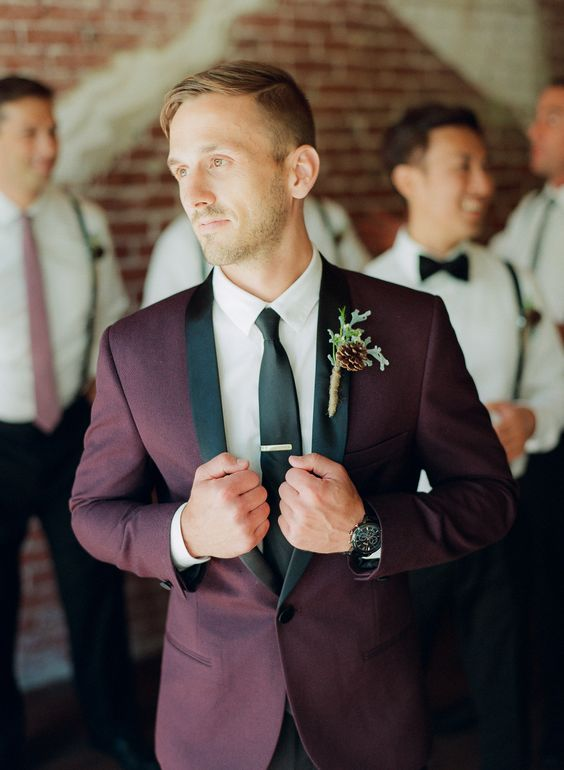 marsala and black groom's suit