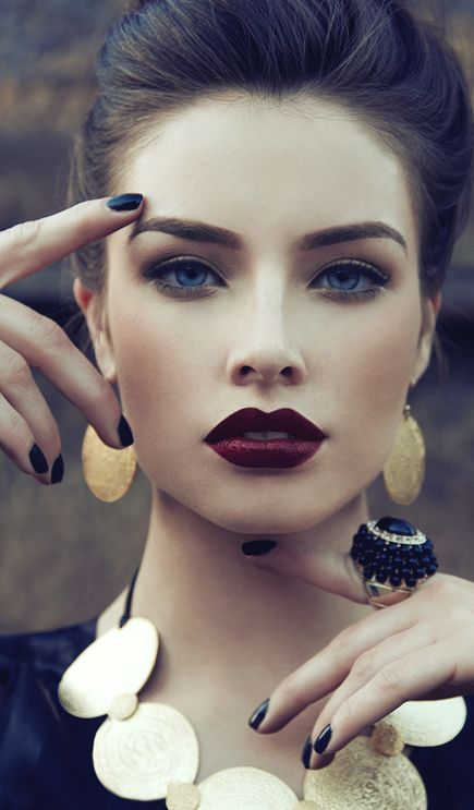 moody wedding makeup with a deep red lip