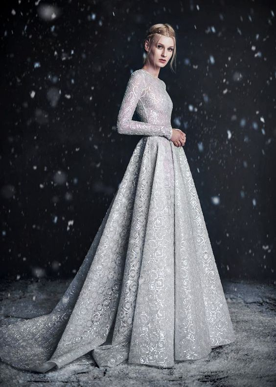 silver grey wedding dress with an amazing pattern