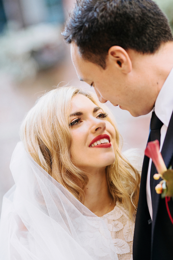 bold red lips are perfect for a moody fall wedding