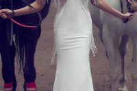 09 bridal cap sleeve sweetheart neckline sheath fringe beaded wedding dress
