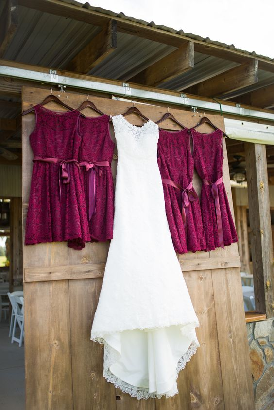 burgundy lace bridesmaids' dresses