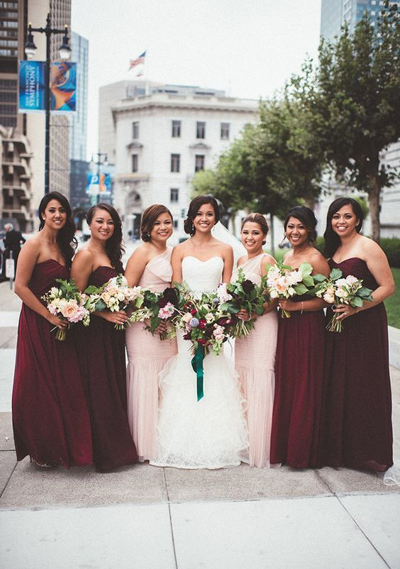 maxi' bridesmaids dresses in marsala color look great