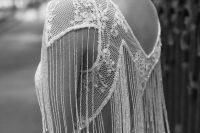 10 cap sleeve illusion vneck fringe beaded wedding dress