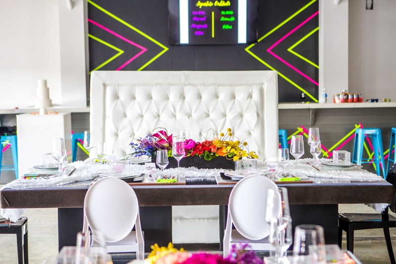 Neon decorations here and there created an ambience in this modern venue
