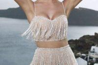 11 crop top beaded fringe wedding dress