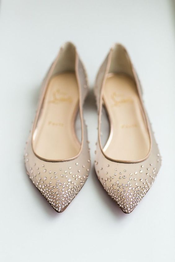 neutral beaded wedding flats