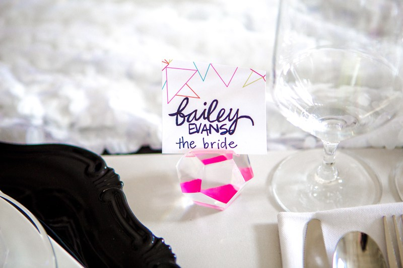 Neon gems for holding place cards