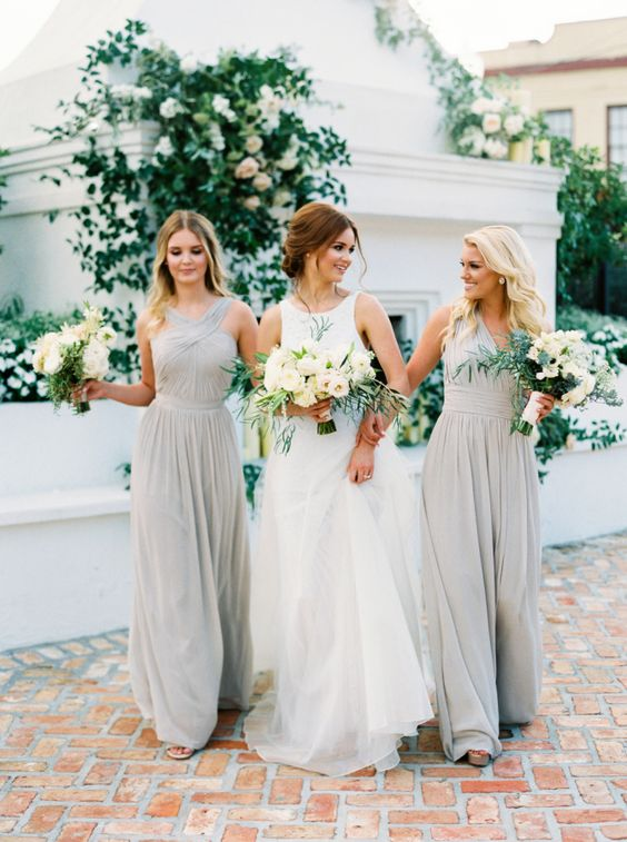 light grey maxi bridesmaids' dresses