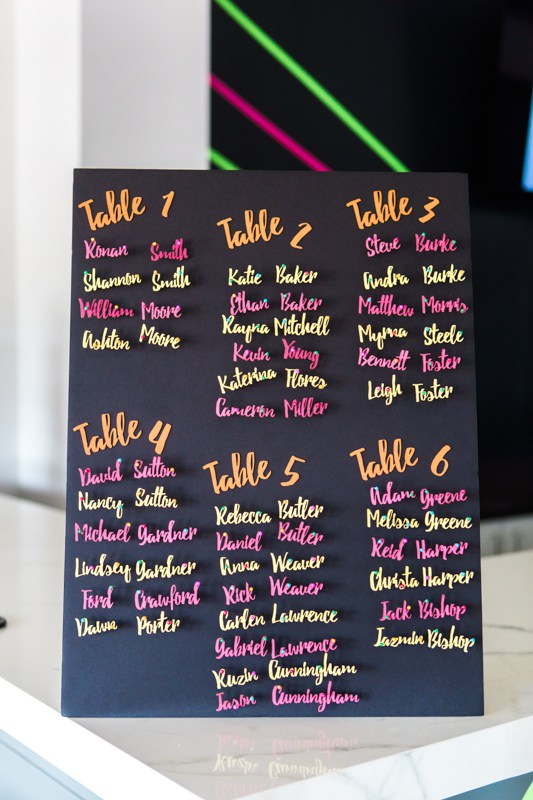 Bold 3D neon seating chart