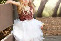 13 a white tutu skirt and a bold marsala top