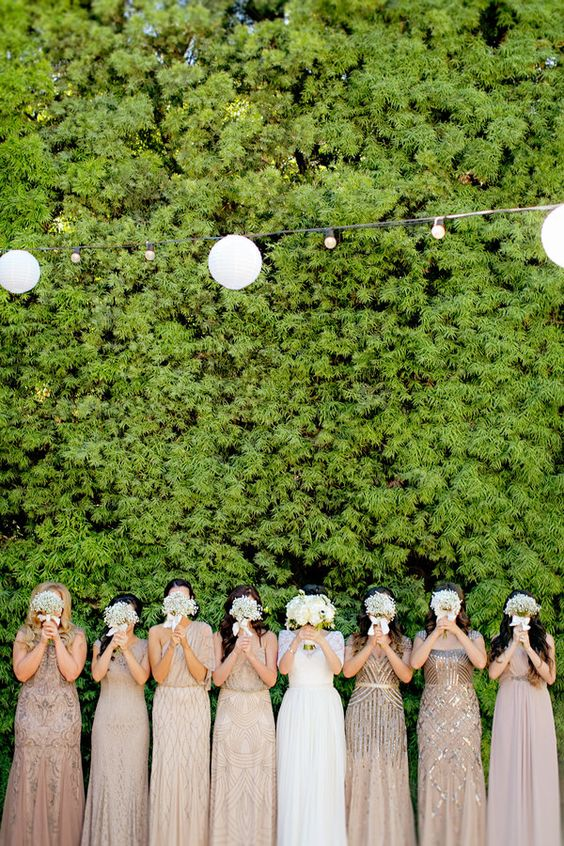 all-neutral mix and match bridesmaids' dresses