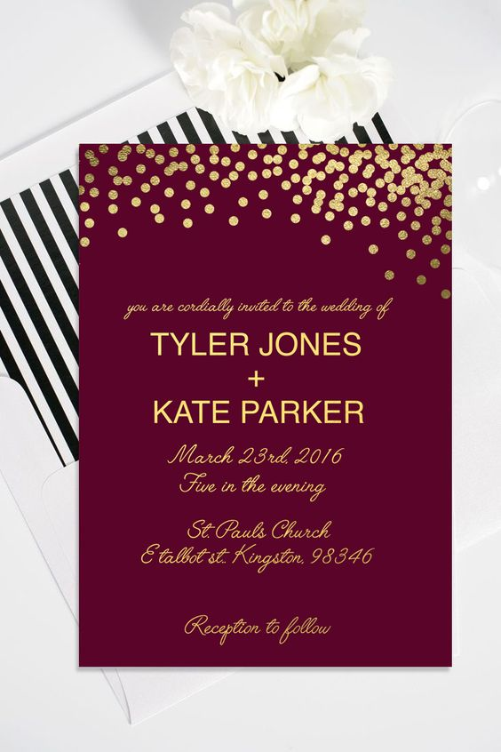 Burgundy Invitations With Gold Polka Dots And Letters
